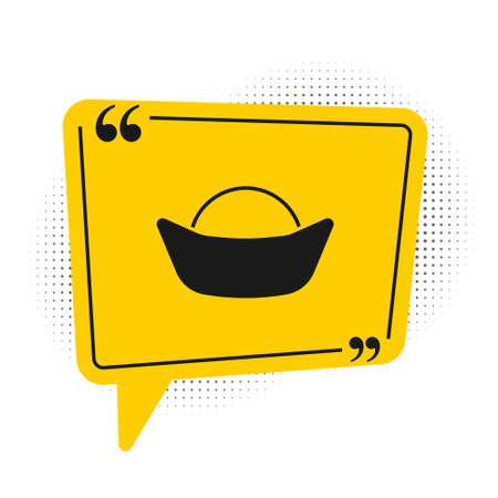Black Sushi icon isolated on white background. Traditional Japanese food. Yellow speech bubble symbol. Vector Ilustração Vetorial