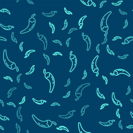 Green line Hot chili pepper pod icon isolated seamless pattern on blue background. Design for grocery, culinary products, seasoning and spice package, cooking book. Vector
