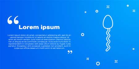 White line Sperm icon isolated on blue background. Vector Vektorgrafik