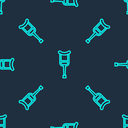 Green line Crutch or crutches icon isolated seamless pattern on blue background. Equipment for rehabilitation of people with diseases of musculoskeletal system. Vector