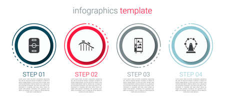 Set Hockey table, Roller coaster, Vending machine and Ferris wheel. Business infographic template. Vector