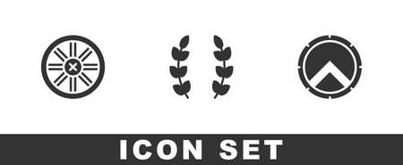 Set Old wooden wheel, Laurel wreath and Greek shield icon. Vector