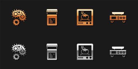 Set Virus, Jar with additives, 3D printing technology and Electronic scales icon. Vector Vektoros illusztráció