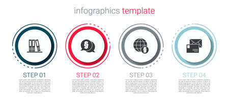 Set Office folders, Law, International law and Envelope. Business infographic template. Vector