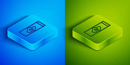 Isometric line Blood test and virus molecule icon isolated on blue and green background. Square button. Vector