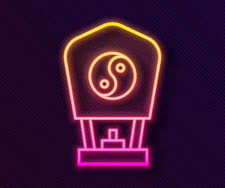 Glowing neon line Chinese paper lantern icon isolated on black background. Vector