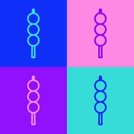 Pop art line Meatballs on wooden stick icon isolated on color background. Skewer with meat. Vector