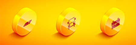 Set Isometric Eraser or rubber, School Bus and backpack icon. Vector