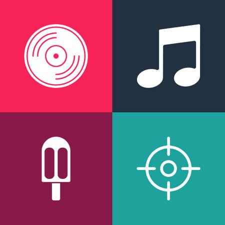 Set pop art Target sport, Ice cream, Music note, tone and Vinyl disk icon. Vector Stock Illustratie