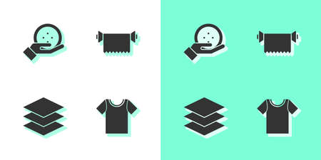 Set T-shirt, Sewing button, Layers clothing textile and Textile fabric roll icon. Vector