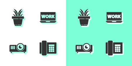 Set Telephone, Plant in pot, Movie, film, media projector and Laptop with text work icon. Vector