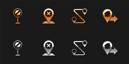 Set Stop sign, Location, Route location and house icon. Vector