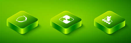 Set Isometric Puzzle pieces toy, Roller skate and Bow icon. Vector