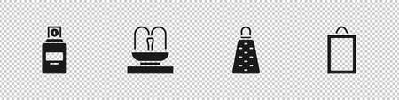 Set Perfume, Fountain, Grater and Picture icon. Vector