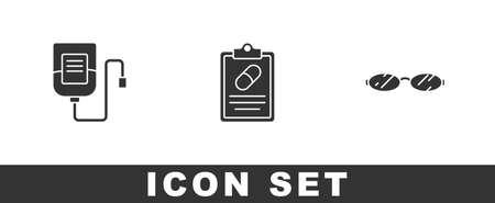 Set IV bag, Medical prescription and Eyeglasses icon. Vector