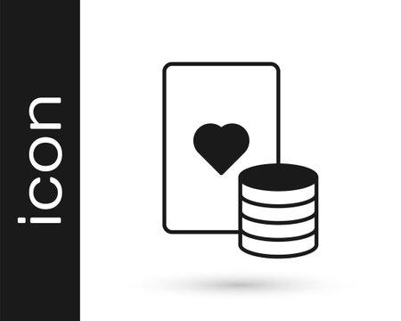 Black Casino chip and playing cards icon isolated on white background. Casino poker. Vector Vektoros illusztráció