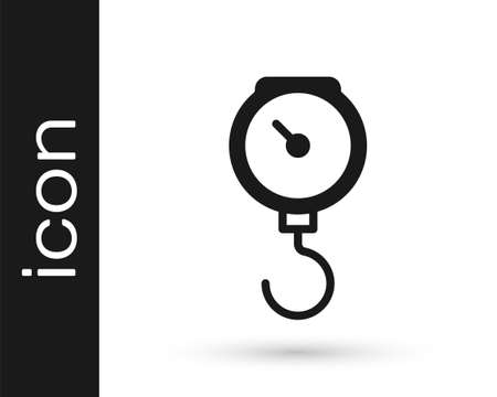 Black Hand scale spring mechanical icon isolated on white background. Vector Vektorové ilustrace