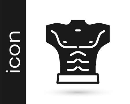 Black Bodybuilder showing his muscles icon isolated on white background. Fit fitness strength health hobby concept. Vector Stock Illustratie