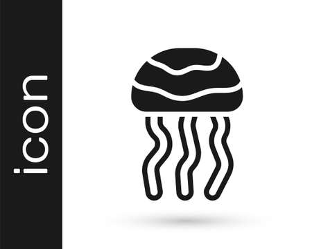 Black Jellyfish icon isolated on white background. Vector