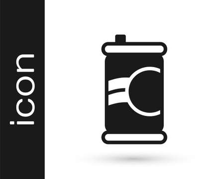 Black Soda can icon isolated on white background. Vector