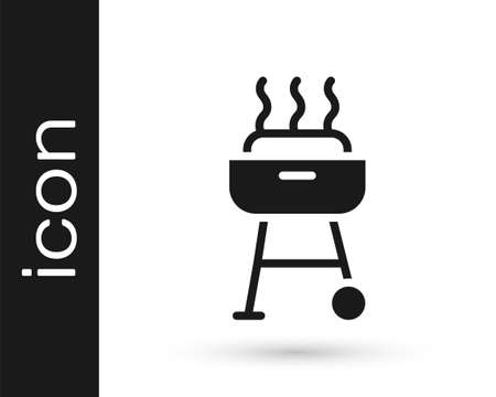 Black Barbecue grill icon isolated on white background. BBQ grill party. Vector Stock Illustratie