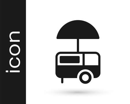 Black Fast street food cart with awning icon isolated on white background. Urban kiosk. Ice cream truck. Vector