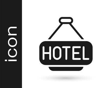 Black Signboard outdoor advertising with text Hotel icon isolated on white background. Vector Stock Illustratie