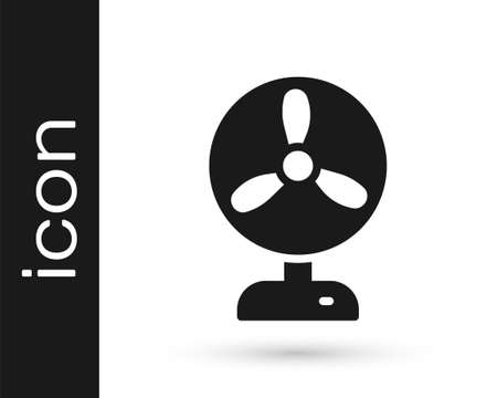 Black Electric fan icon isolated on white background. Vector Stock Illustratie