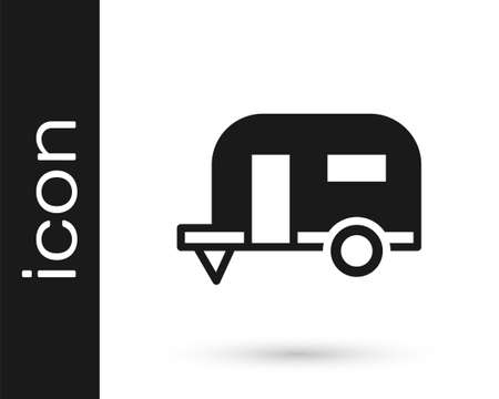 Black Rv Camping trailer icon isolated on white background. Travel mobile home, caravan, home camper for travel. Vector Stock Illustratie