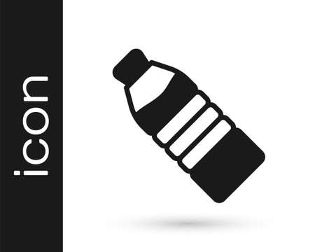 Black Bottle of water icon isolated on white background. Soda aqua drink sign. Vector