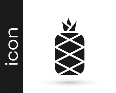 Black Pineapple tropical fruit icon isolated on white background. Vector Stock Illustratie