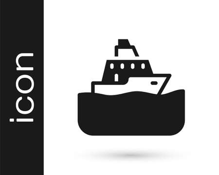 Black Cruise ship icon isolated on white background. Travel tourism nautical transport. Voyage passenger ship, cruise liner. Worldwide cruise. Vector