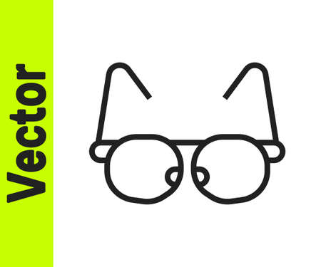 Black line Glasses icon isolated on white background. Eyeglass frame symbol. Vector
