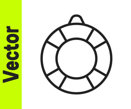 Black line Lifebuoy icon isolated on white background. Lifebelt symbol. Vector Stock Illustratie