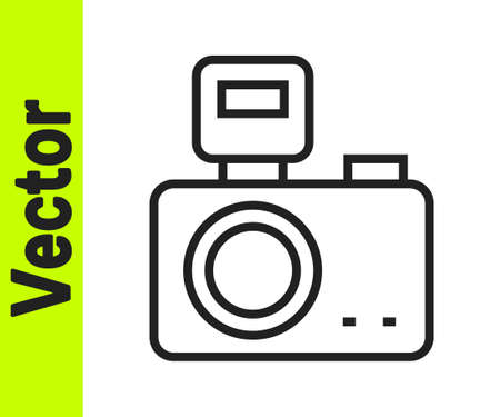 Black line Photo camera with lighting flash icon isolated on white background. Photo camera. Digital photography. Vector