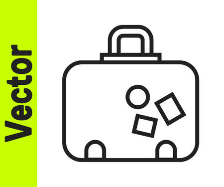 Black line Suitcase for travel icon isolated on white background. Traveling baggage sign. Travel luggage icon. Vector