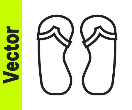 Black line Flip flops icon isolated on white background. Beach slippers sign. Vector