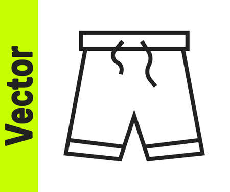 Black line Swimming trunks icon isolated on white background. Vector