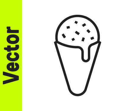 Black line Ice cream in waffle cone icon isolated on white background. Sweet symbol. Vector