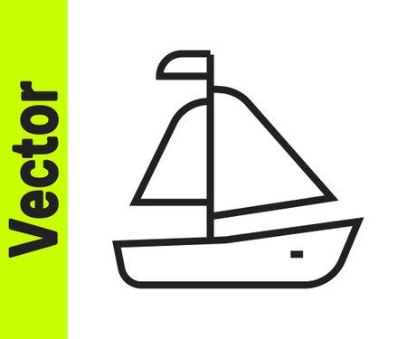 Black line Yacht sailboat or sailing ship icon isolated on white background. Sail boat marine cruise travel. Vector