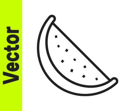Black line Watermelon icon isolated on white background. Vector Stock Illustratie