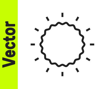 Black line Sun icon isolated on white background. Vector Stock Illustratie