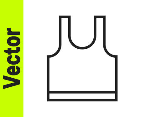 Black line Sleeveless T-shirt icon isolated on white background. Vector Stock Illustratie