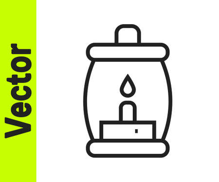 Black line Camping lantern icon isolated on white background. Happy Halloween party. Vector