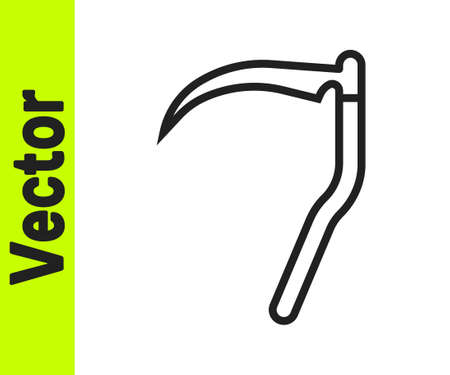 Black line Scythe icon isolated on white background. Happy Halloween party. Vector