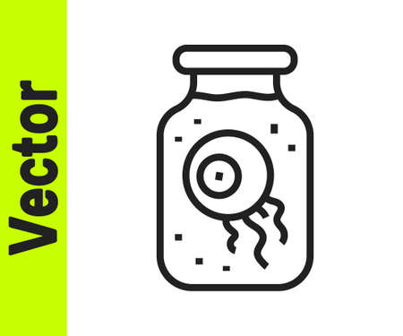 Black line Eye in a jar icon isolated on white background. Happy Halloween party. Vector