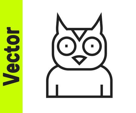 Black line Owl bird icon isolated on white background. Animal symbol. Vector
