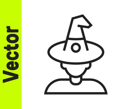 Black line Witch icon isolated on white background. Happy Halloween party. Vector