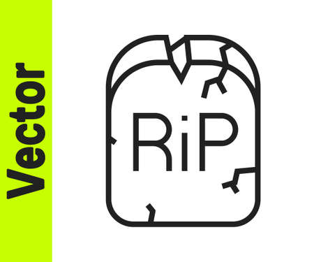 Black line Tombstone with RIP written on it icon isolated on white background. Grave icon. Happy Halloween party. Vector