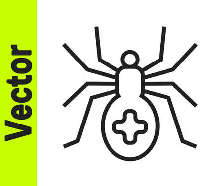 Black line Spider icon isolated on white background. Happy Halloween party. Vector Stock Illustratie